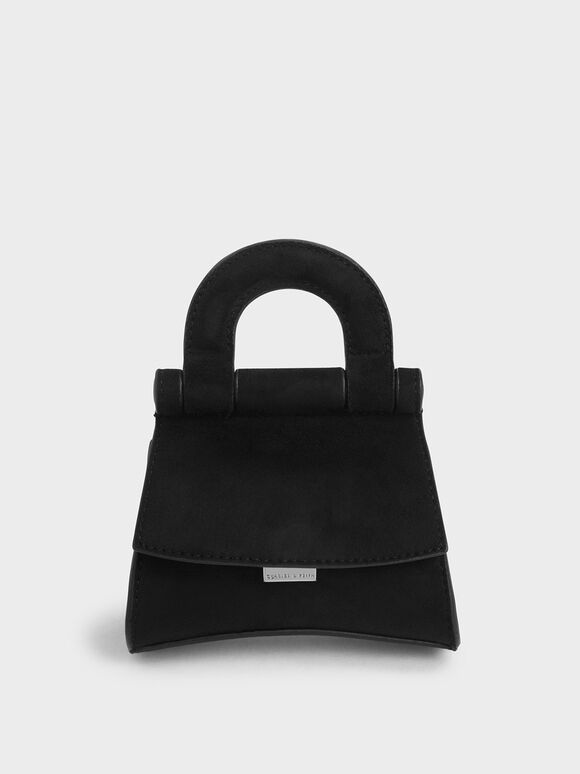 Mini Textured Top Handle Pouch Bag, Black, hi-res