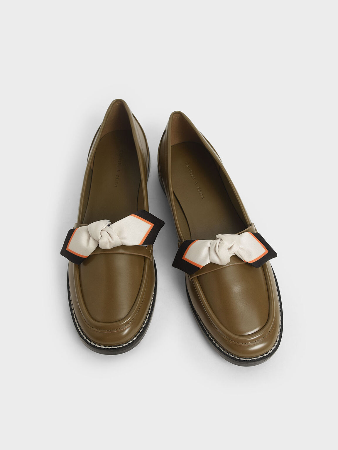 Printed Fabric Bow Loafers, Olive, hi-res