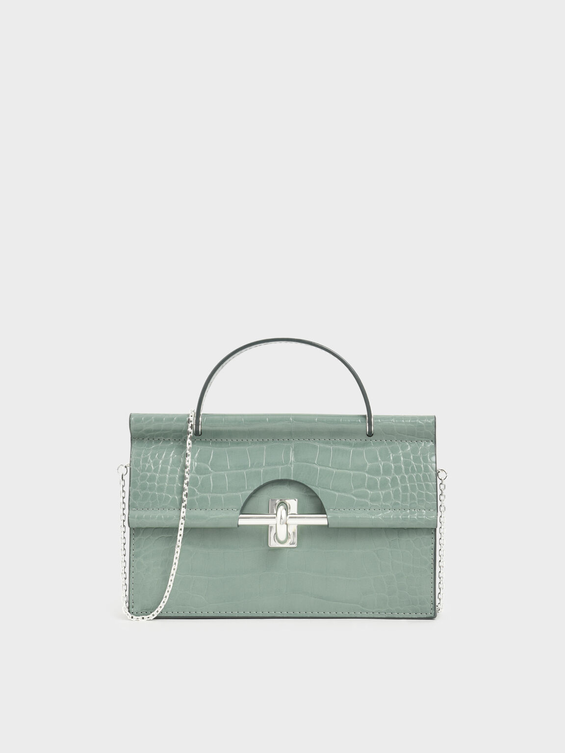 Croc-Effect Single Top Handle Wallet, Sage Green, hi-res