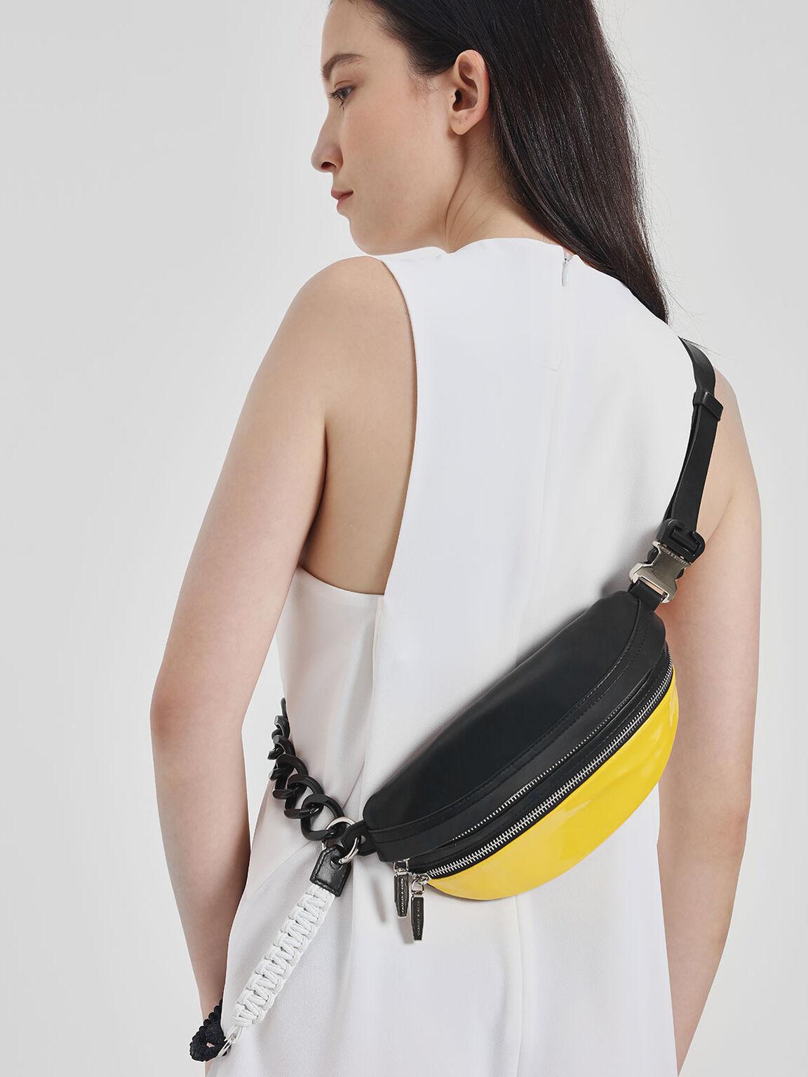 Chain Strap Belt Bag, Yellow, hi-res
