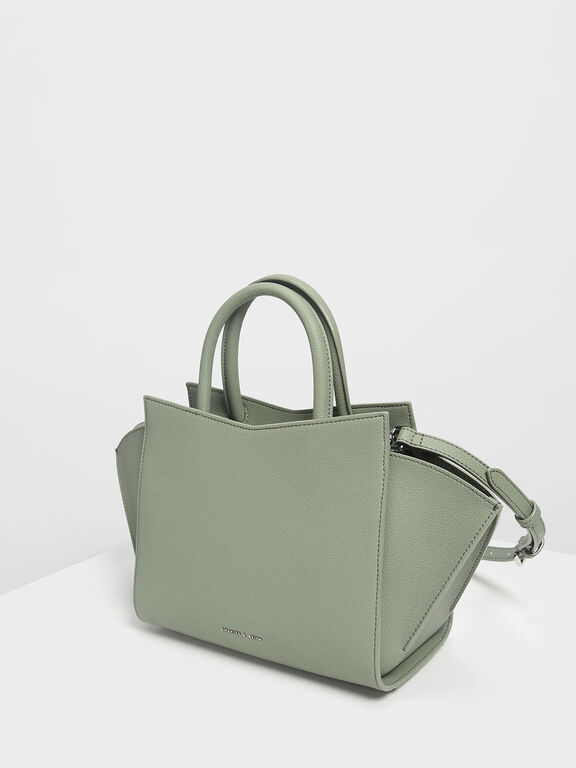 Geometric Structured City Bag, Sage Green, hi-res