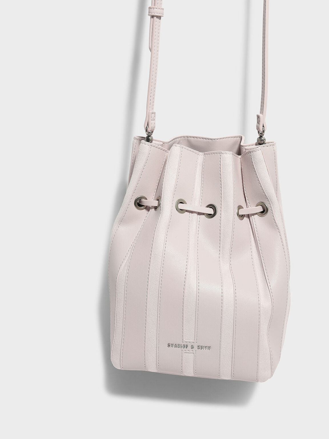 Panel Detail Drawstring Bag, Light Pink, hi-res