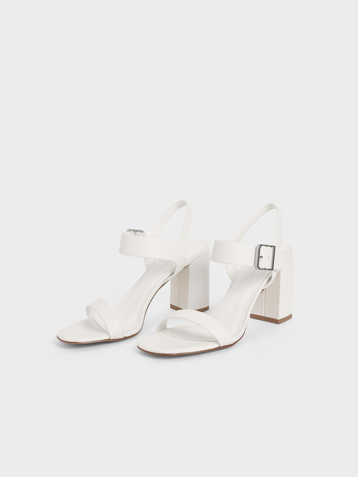 Block Heel Sandals, White, hi-res