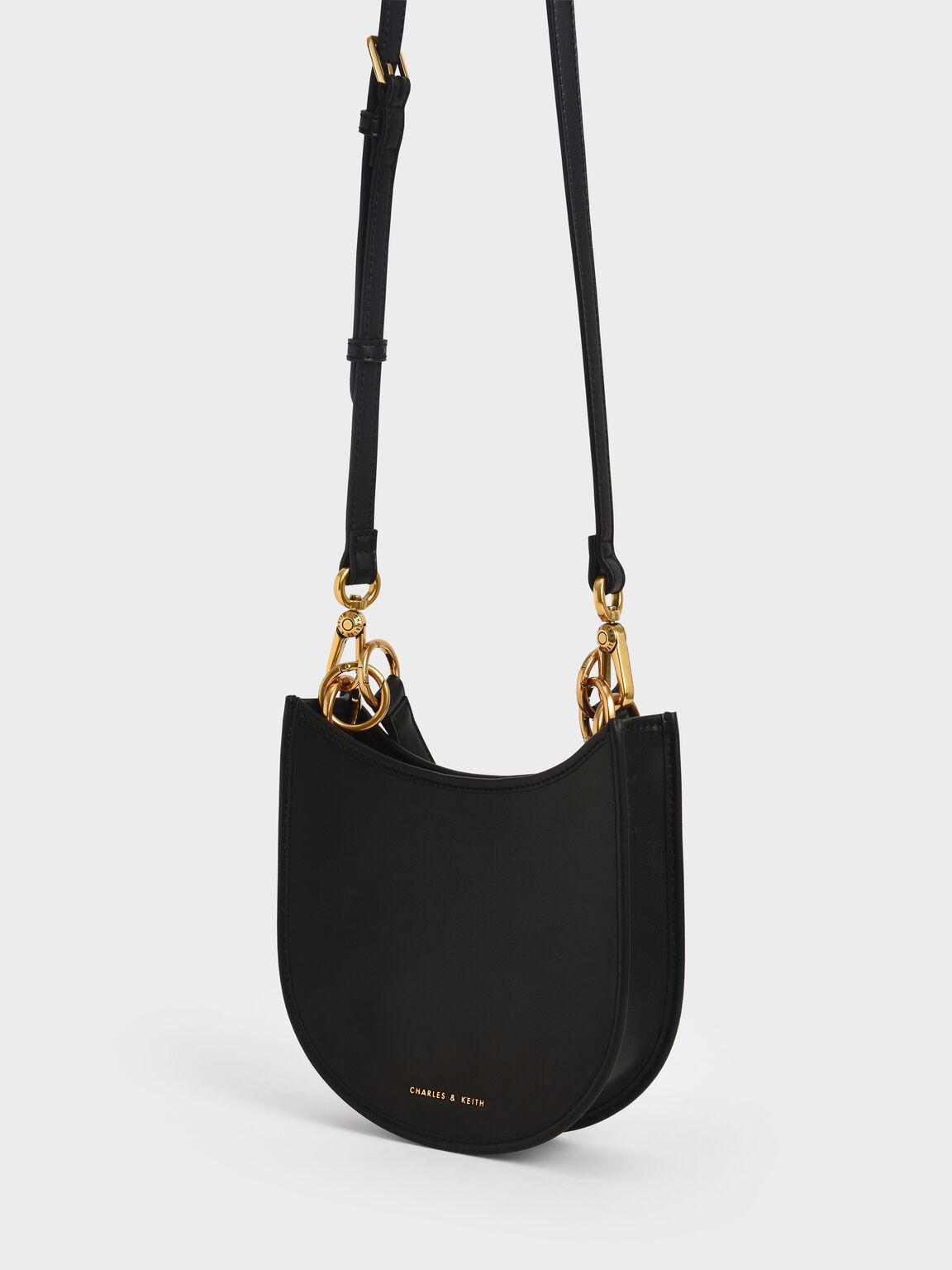 Ring Detail Hobo Bag, Black, hi-res
