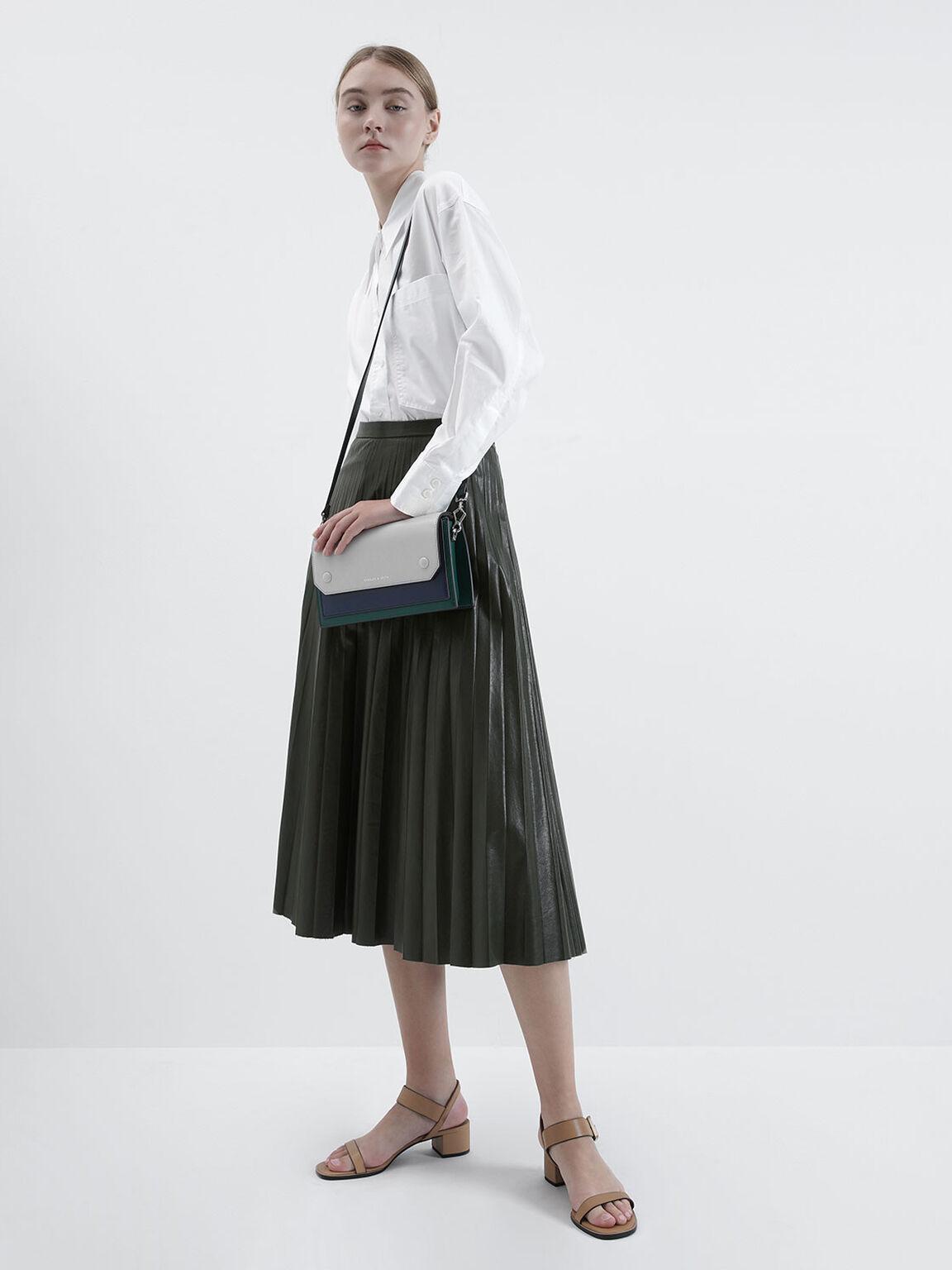 Two-Tone Mini Clutch Bag, Green, hi-res