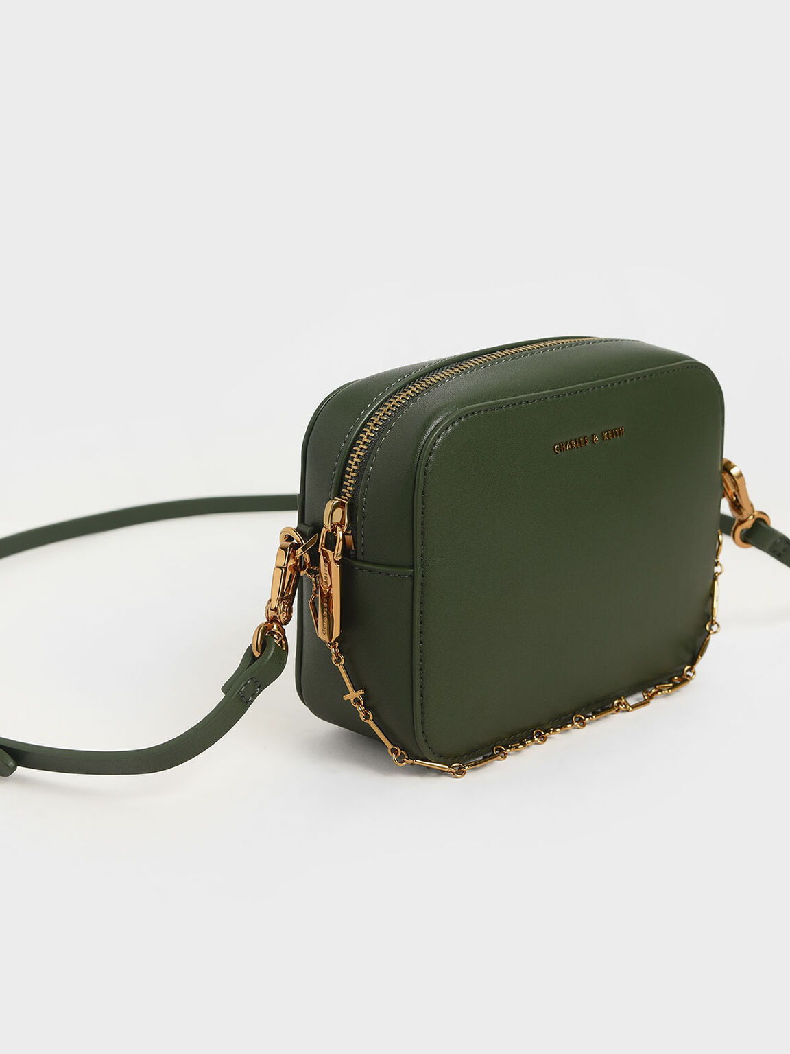 Chain-Link Rectangular Bag, Green, hi-res
