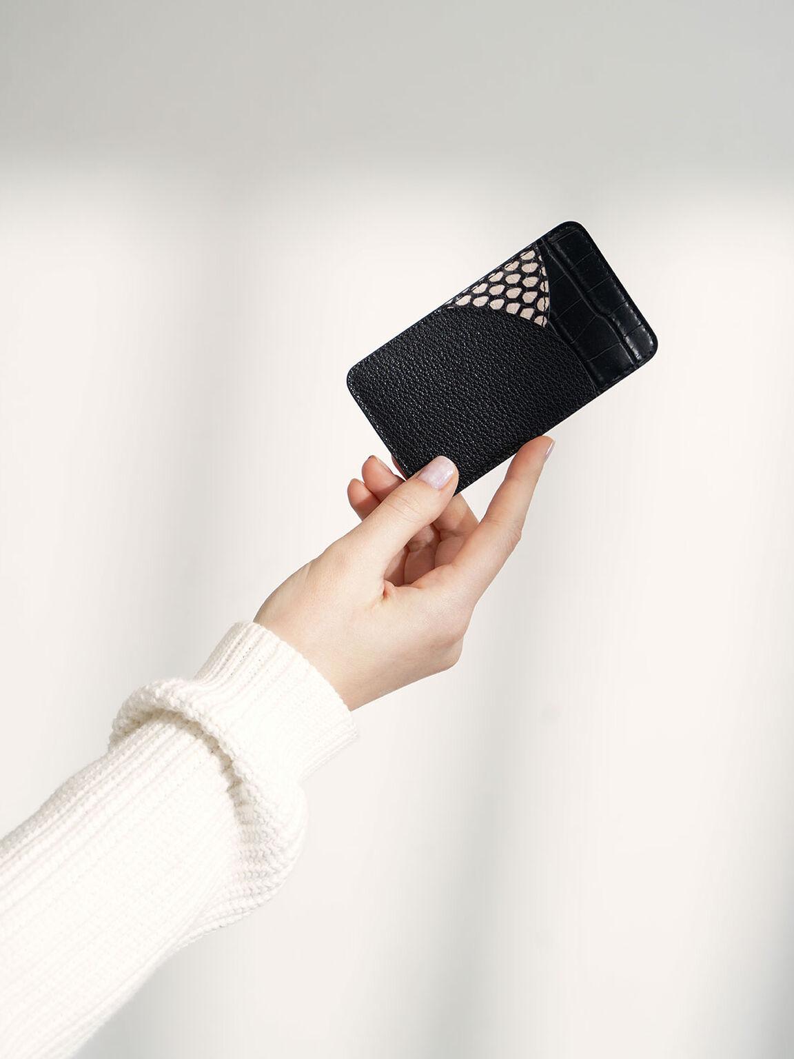 Animal Print Elongated Card Holder, Black, hi-res