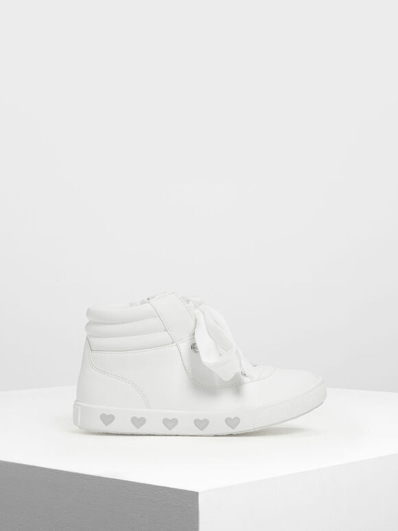Kids' Heart Print High-Top Sneakers, White, hi-res