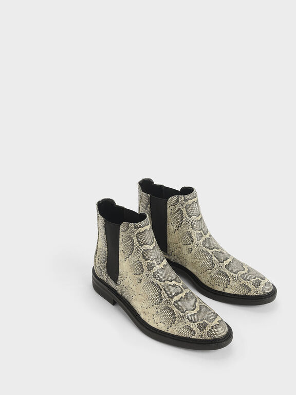 Snake Print Chelsea Boots, Grey