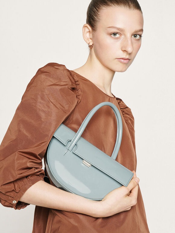 Patent Top Handle Semi-Circle Bag, Slate Blue, hi-res
