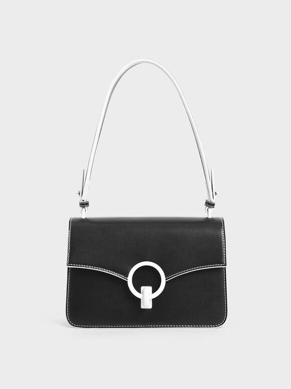 Turn-Lock Shoulder Bag, Black, hi-res