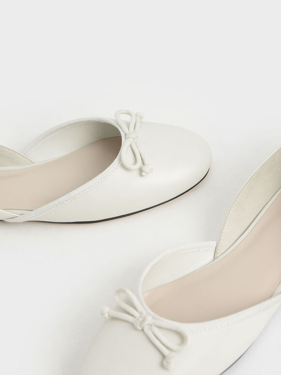 Bow D'Orsay Flats, White, hi-res