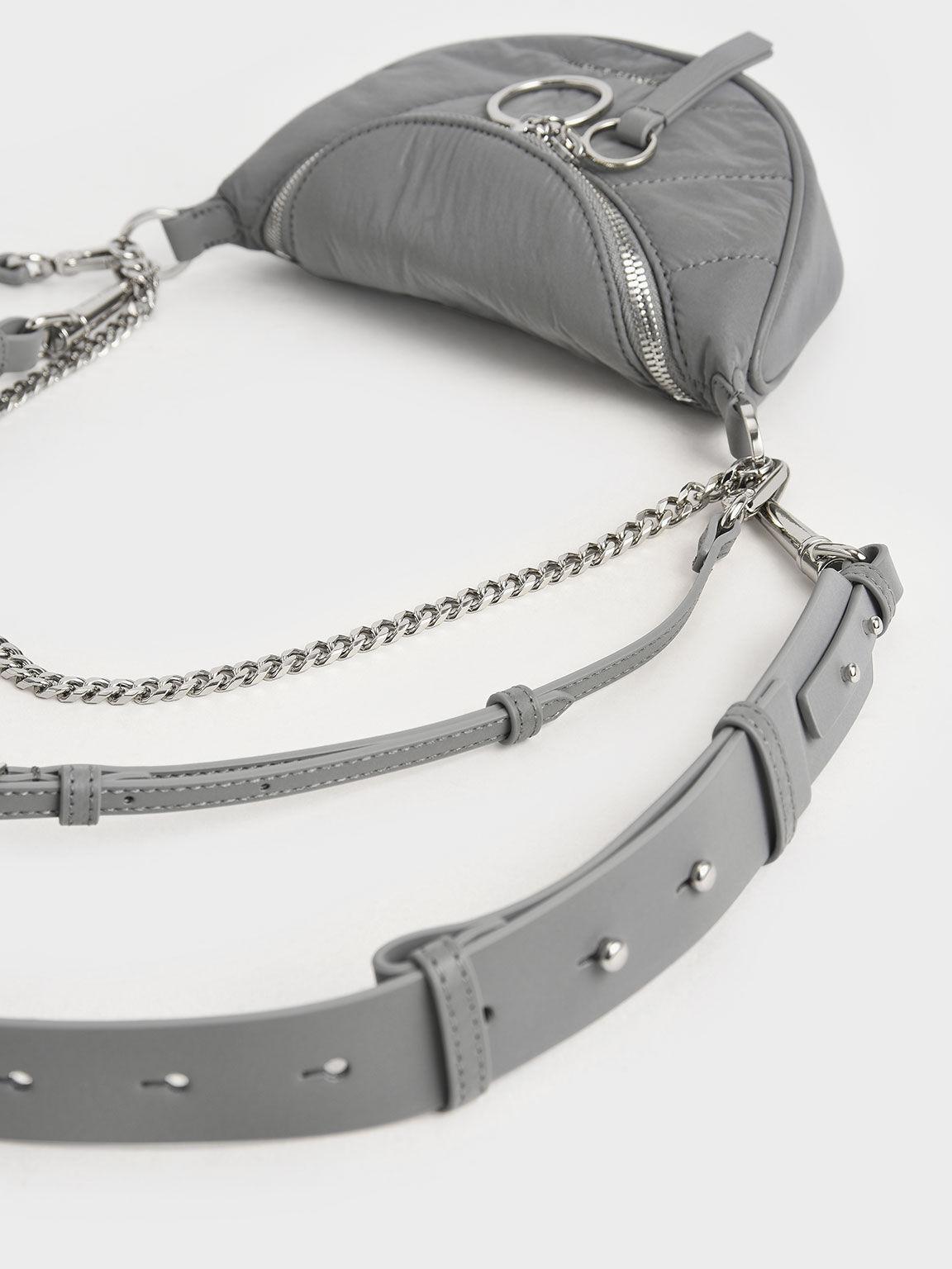 拉鍊式斜背包, 灰色, hi-res