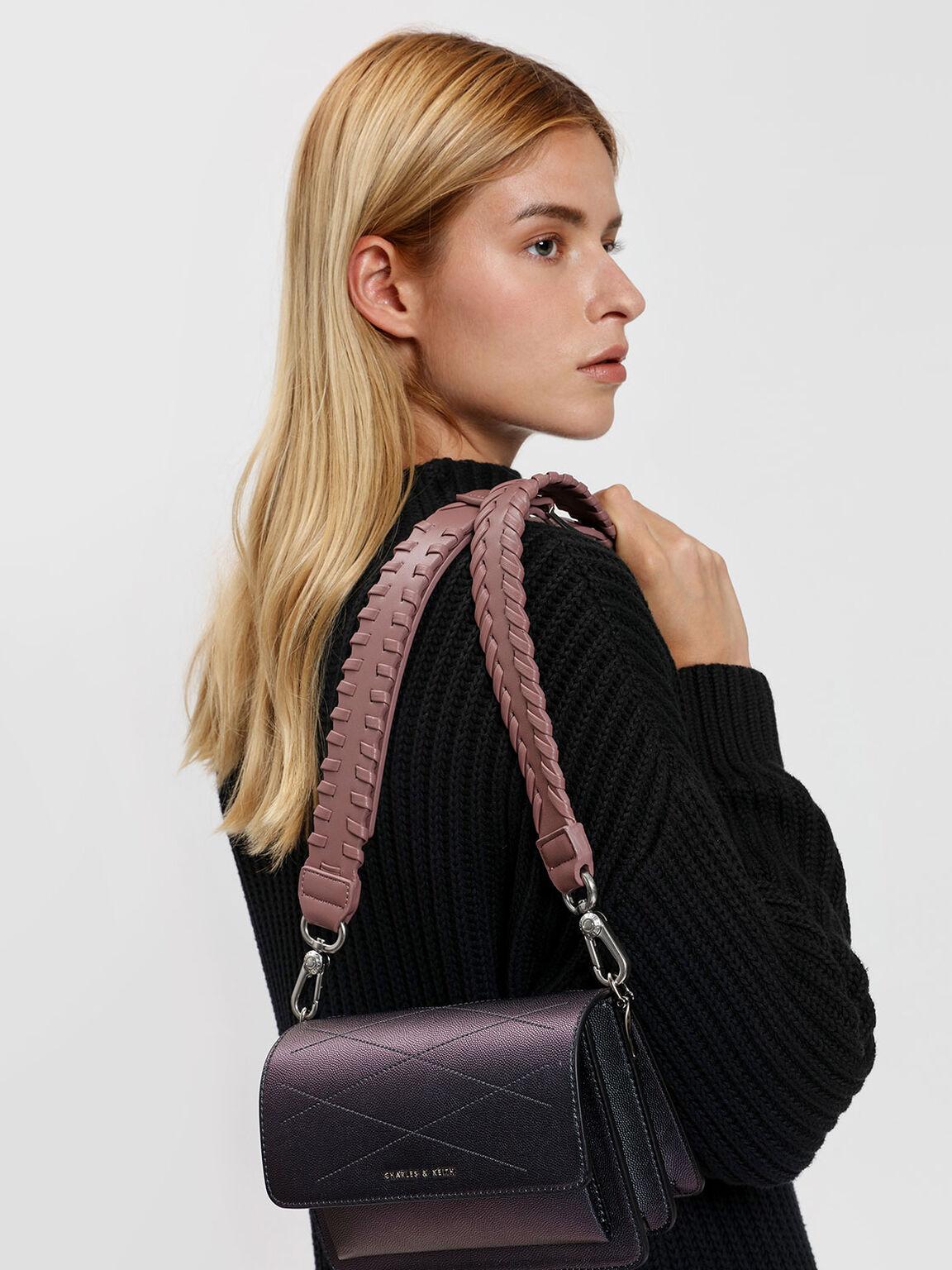 編織滾邊背帶, 紫灰色, hi-res