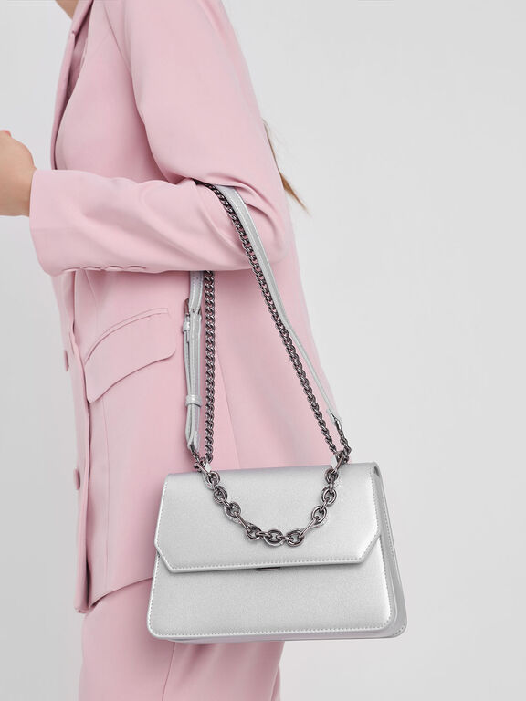 Chain Link Front Flap Bag, Silver, hi-res