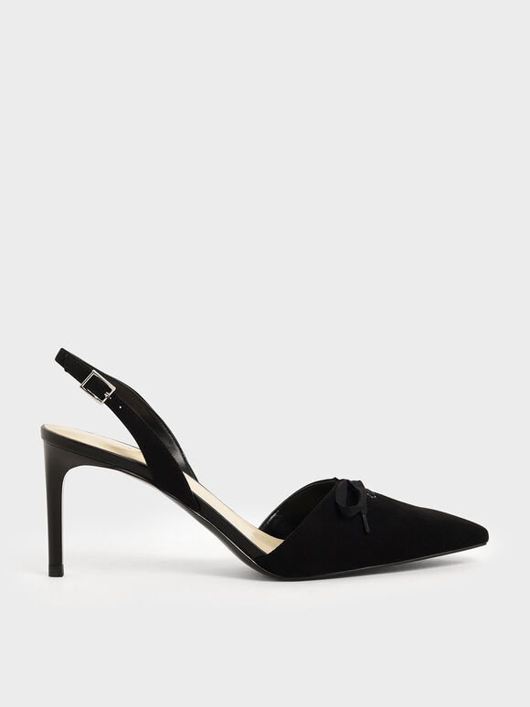 Ribbon Tie Textured Slingback Heels, Black, hi-res