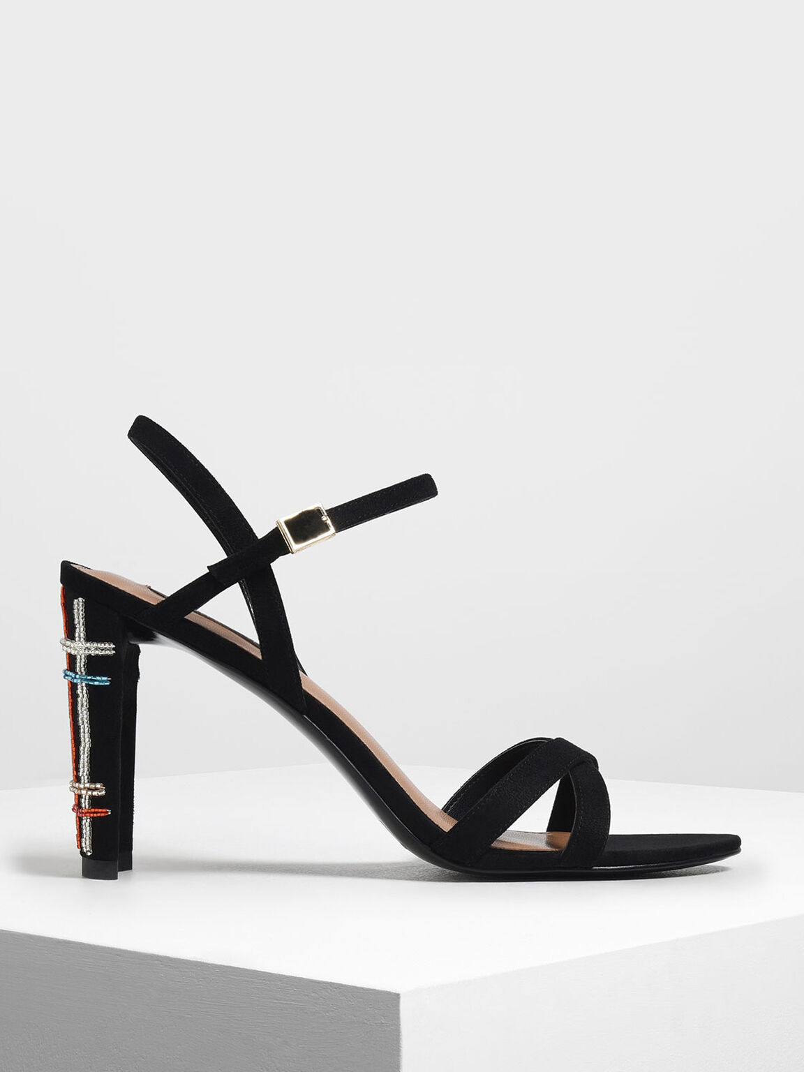 Embellished Curved Block Heel Strappy Sandals, Black, hi-res
