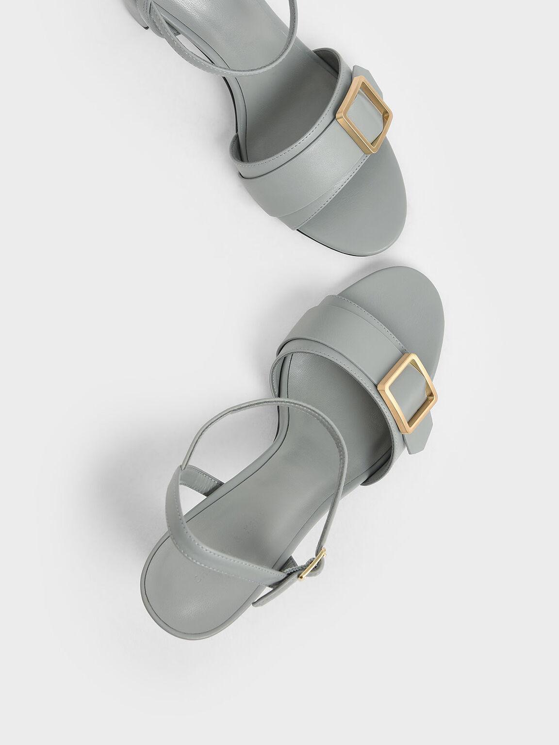 方扣高跟涼鞋, 淺藍色, hi-res