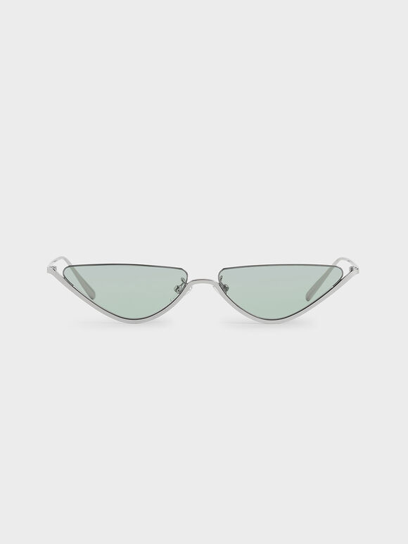 Thin Metal Frame Cat-Eye Sunglasses, Green, hi-res