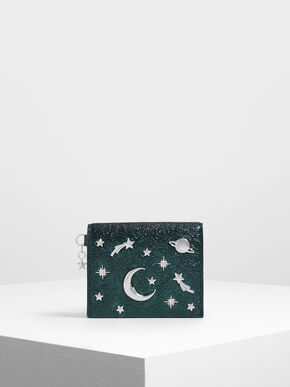 Snap Button Galaxy Embellished Metallic Card Holder, Green