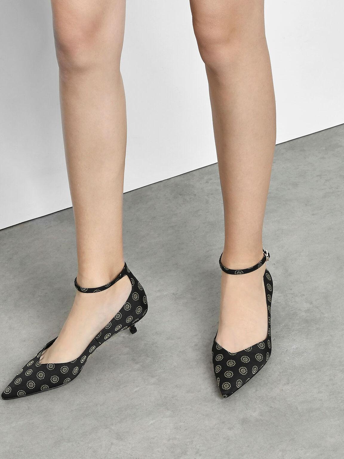 V Cut Kitten Heel Pumps, Black Textured, hi-res