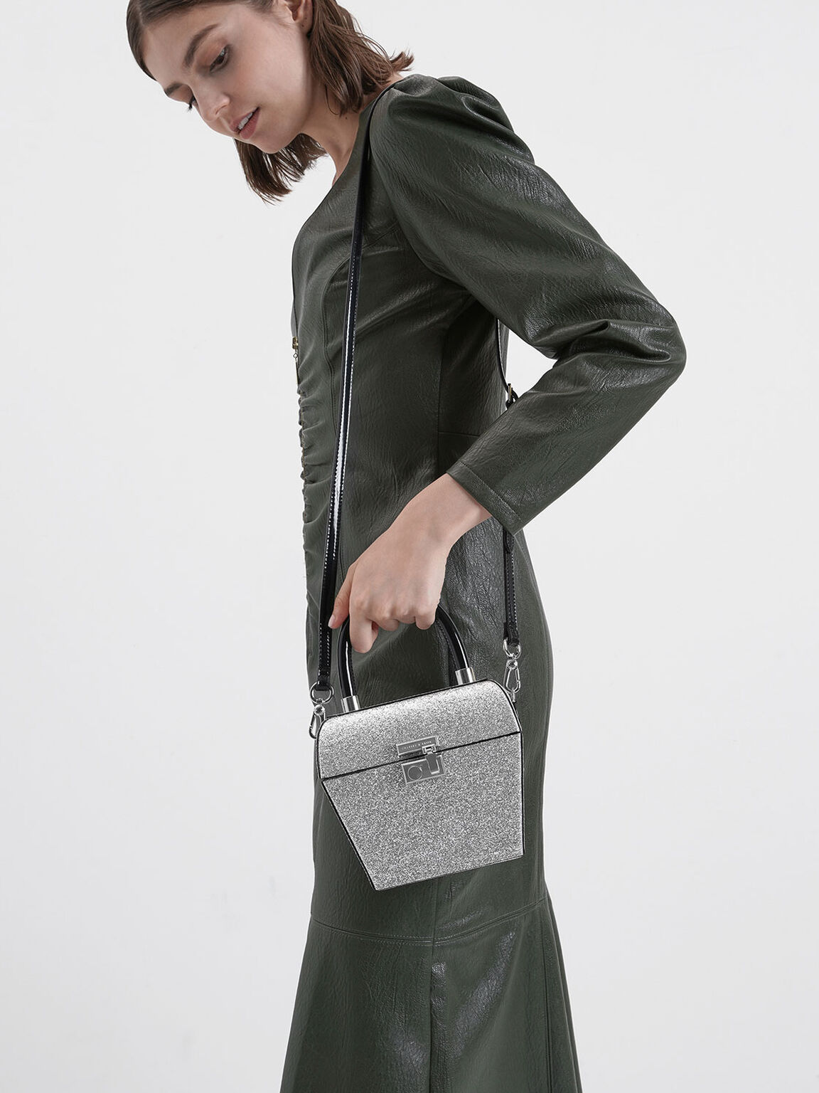 Glitter Patent Sculptural Top Handle Bag, Silver, hi-res
