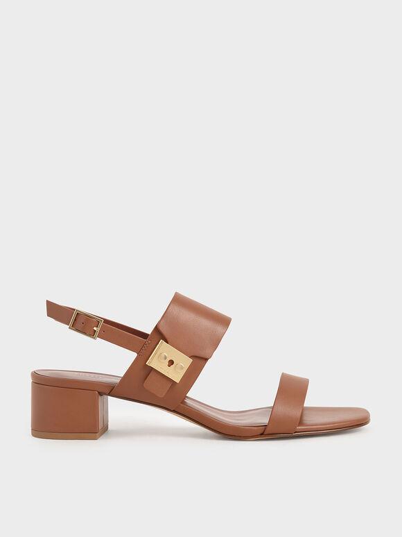 Buckle Strap Sandals, Cognac, hi-res