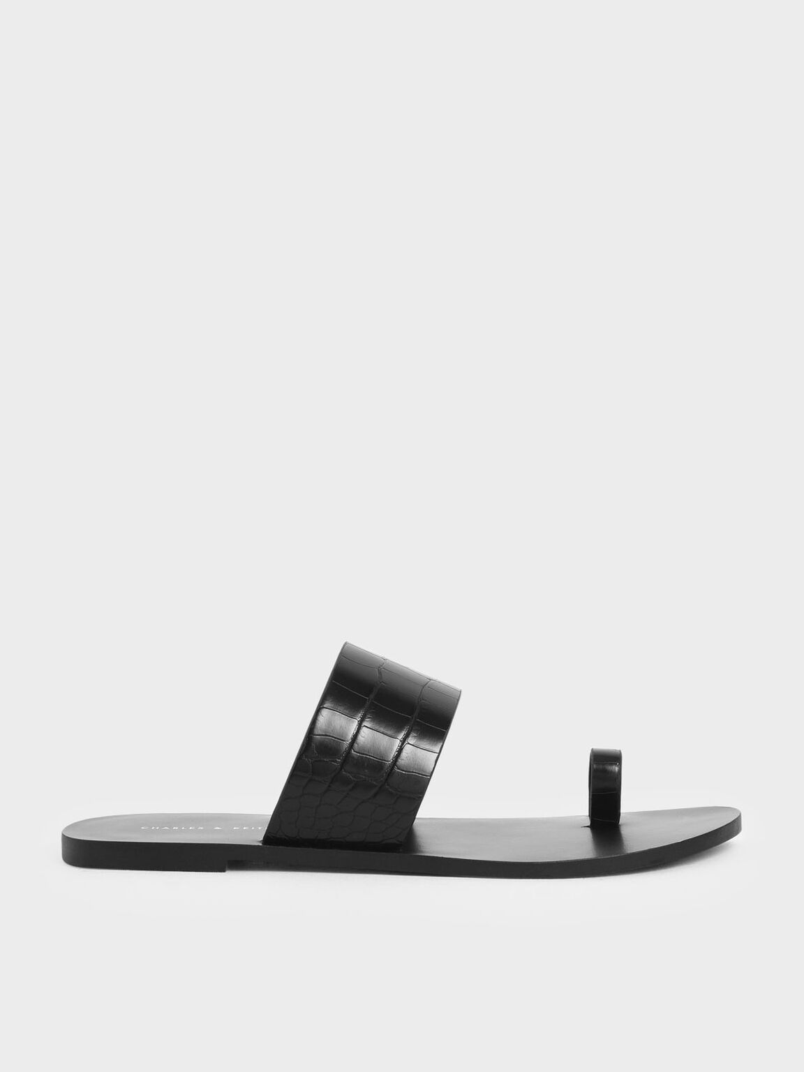 Croc-Effect Toe Loop Slide Sandals, Black, hi-res