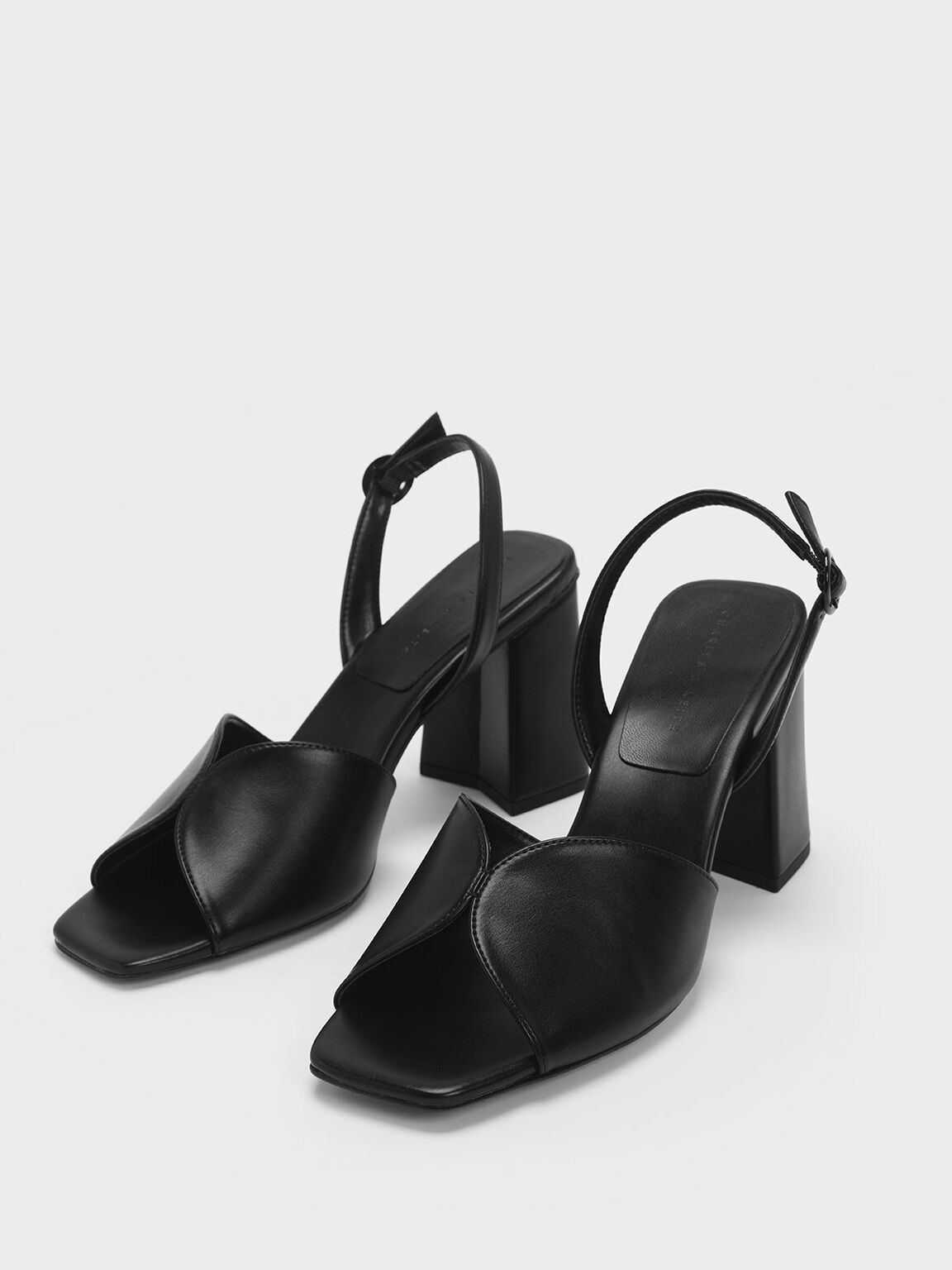 Open Toe Slingback Block Heel Sandals, Black, hi-res