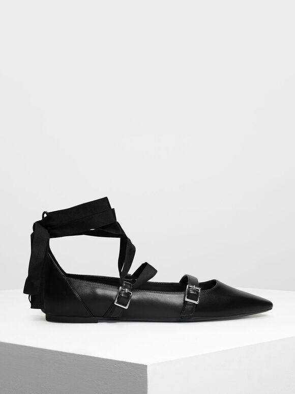 Ribbon Tie Ballerinas, Black, hi-res
