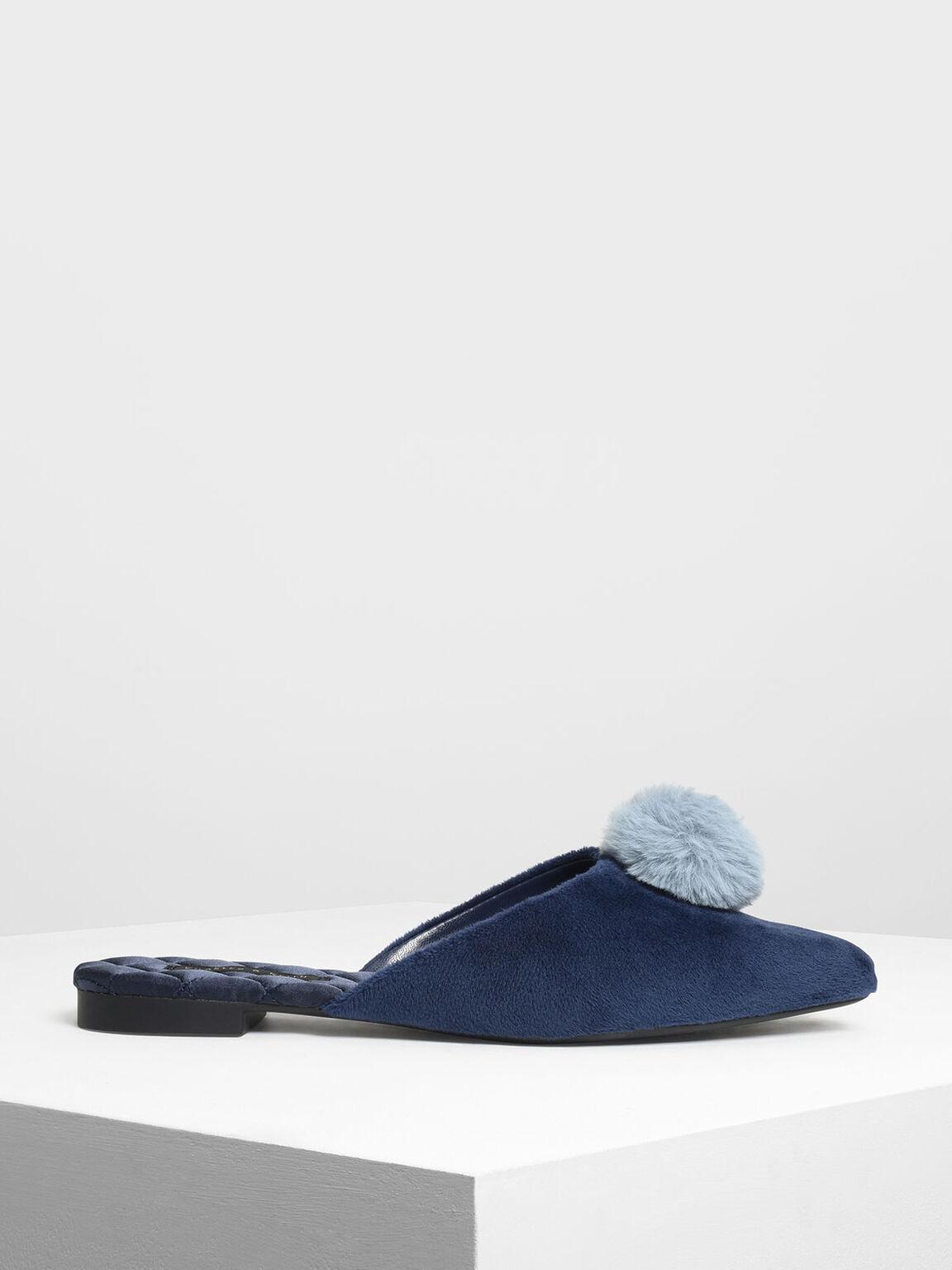 Furry Pointed Pom Pom Slip Ons, Dark Blue, hi-res