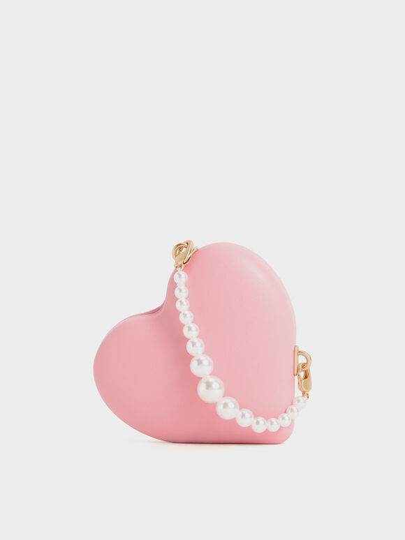Beaded Handle Heart Pouch, Pink, hi-res