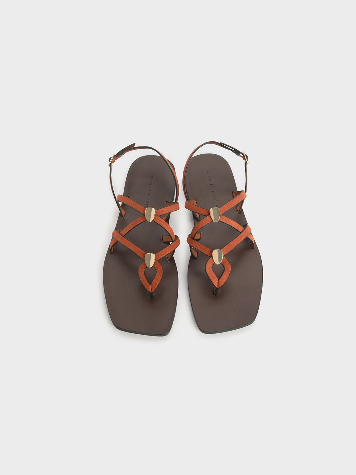 Criss Cross Metal Accent Textured Strappy Sandals, Orange, hi-res
