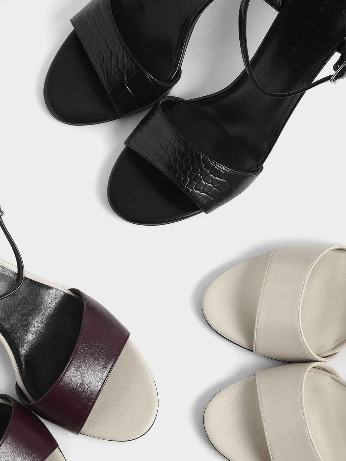 Croc-Effect Sculptural Heel Open Toe Sandals, Black, hi-res