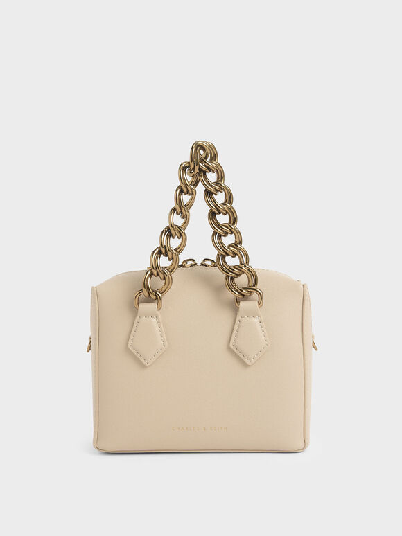 Square Chunky Chain Handle Crossbody Bag, Beige, hi-res