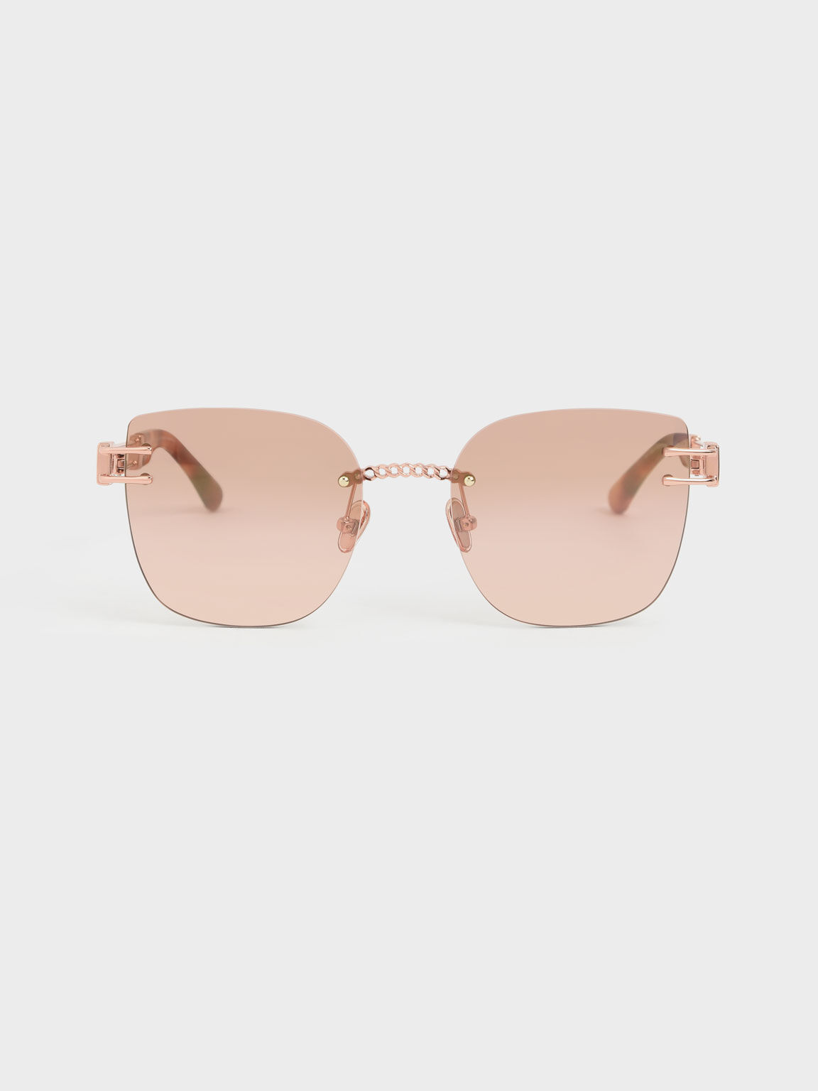 Rimless Butterfly Sunglasses, Rose Gold, hi-res