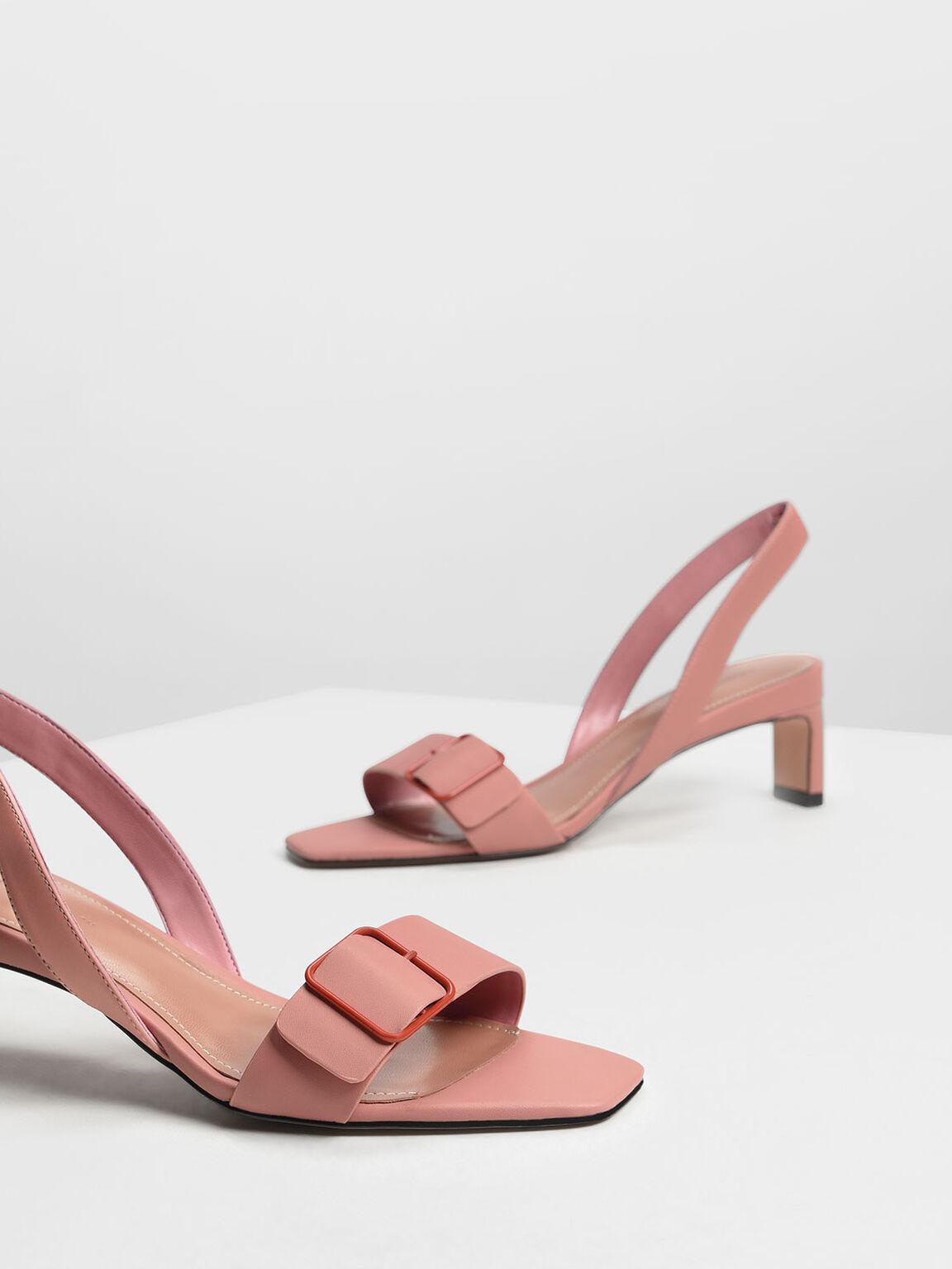 Wide Buckle Slingback Heels, Blush, hi-res