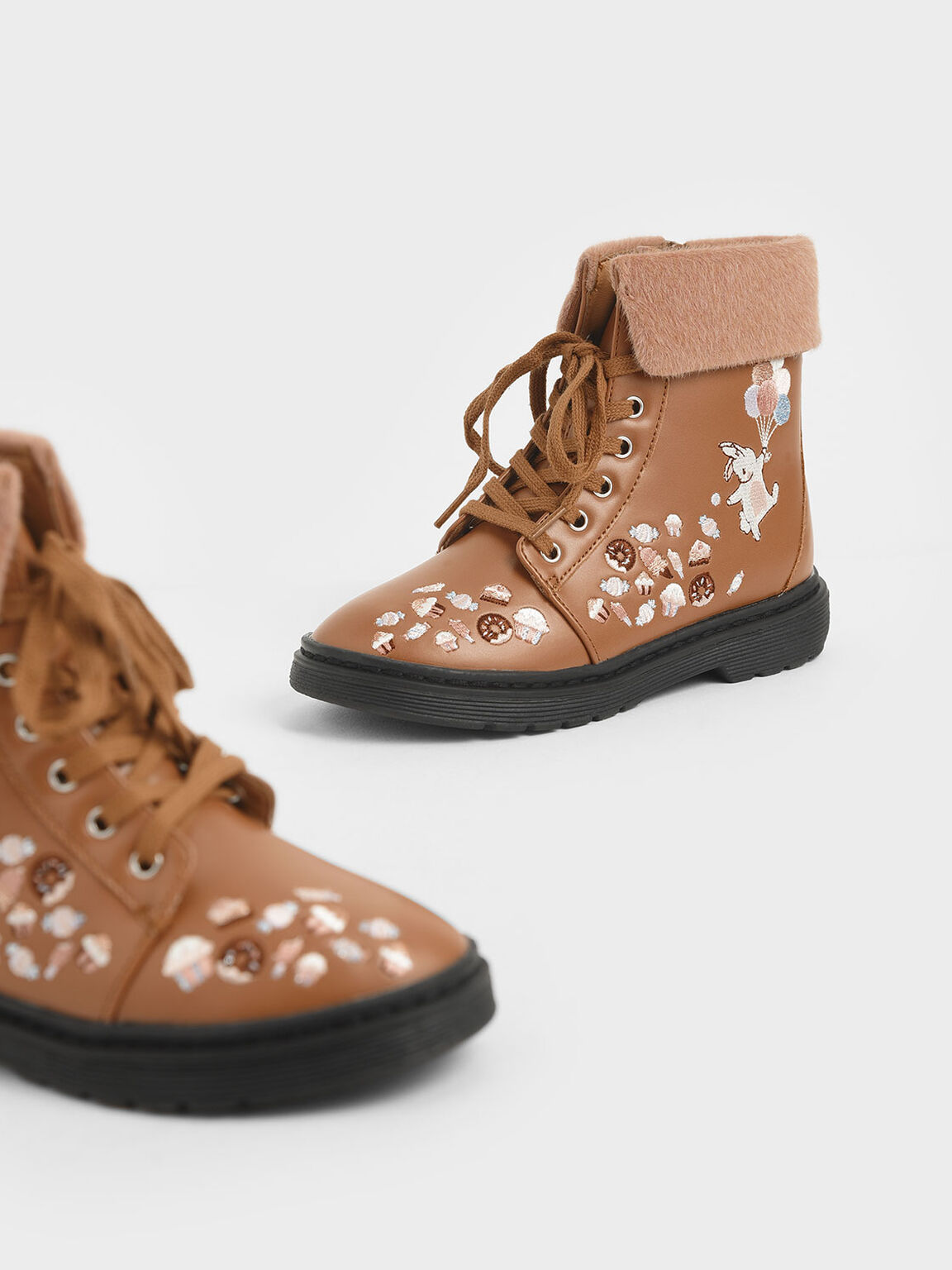 Girl's Furry Cuff Embroidered Ankle Boots, Nude, hi-res