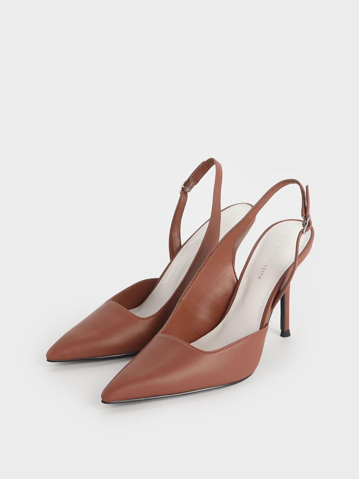 側鏤空高跟鞋, 磚紅色, hi-res