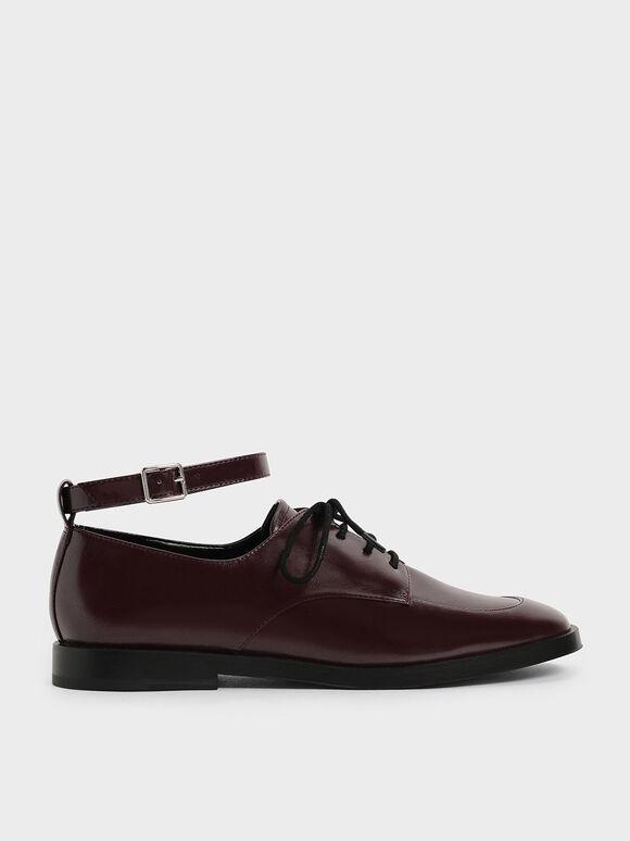 Ankle Strap Derby Shoes, Burgundy, hi-res