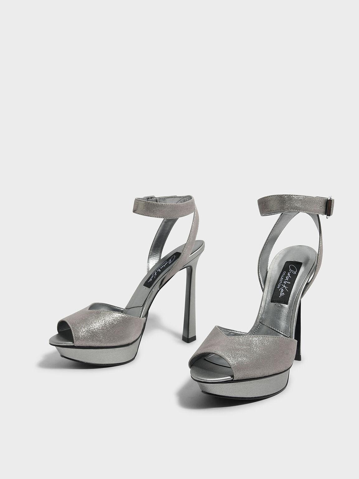 Peep Toe Leather Heels, Silver, hi-res