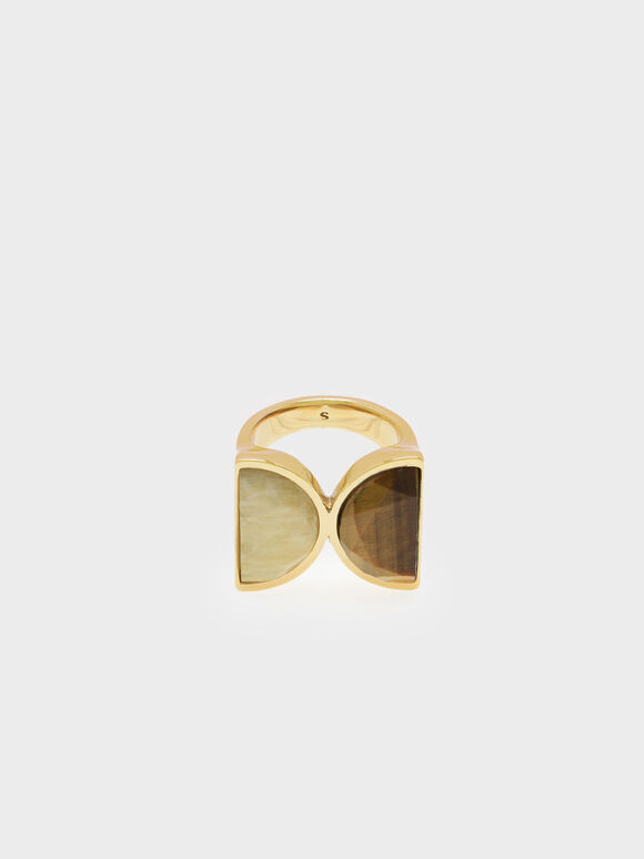 Tiger's Eye Brass Ring, Yellow, hi-res