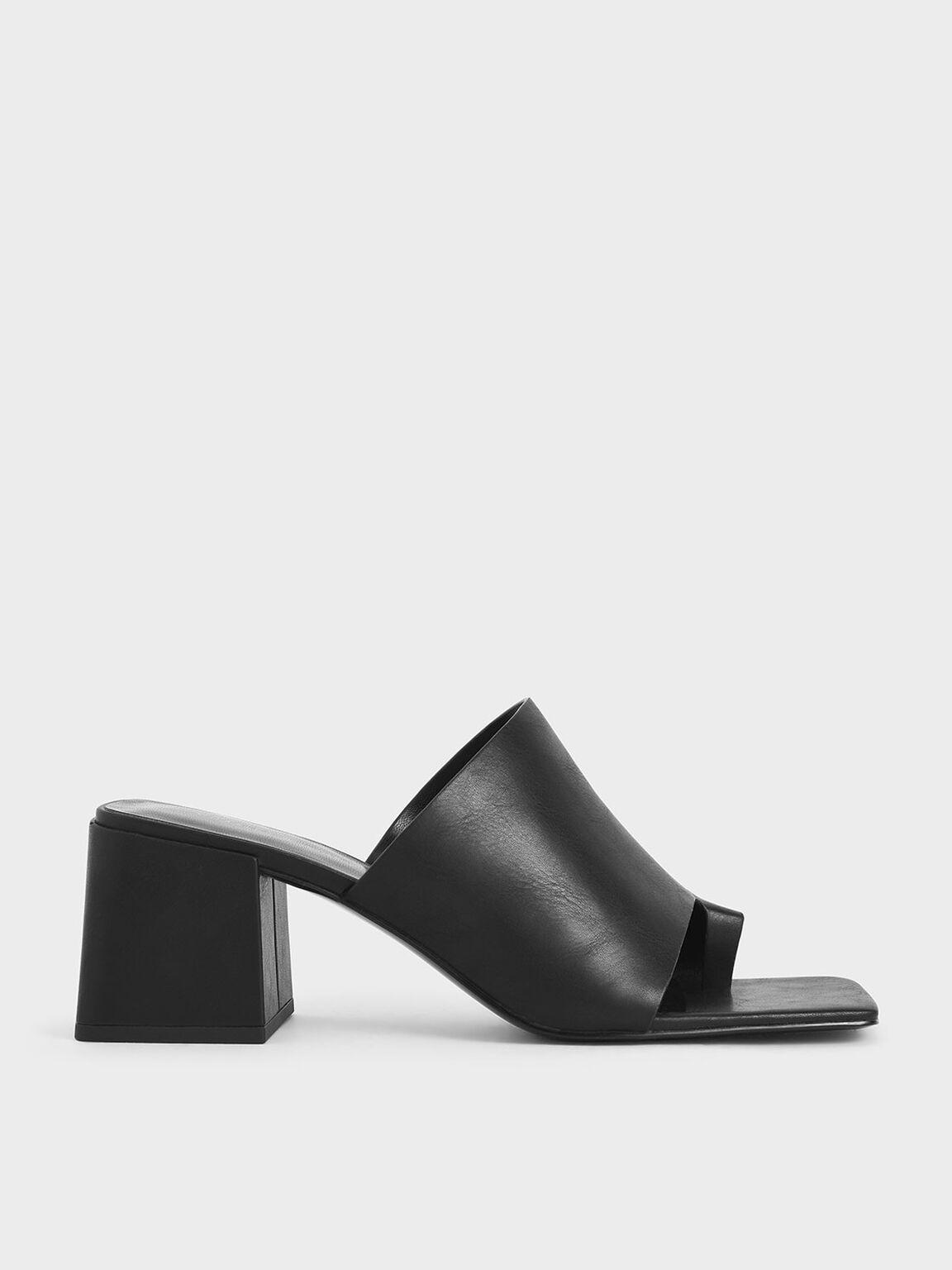 Toe Loop Chunky Heel Mules, Black, hi-res
