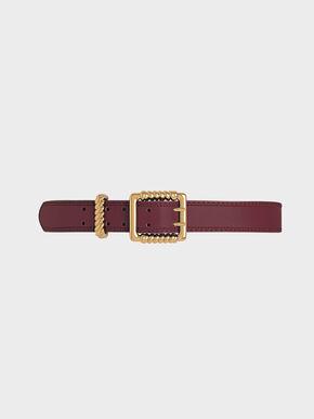 Textured Buckle Belt, Prune