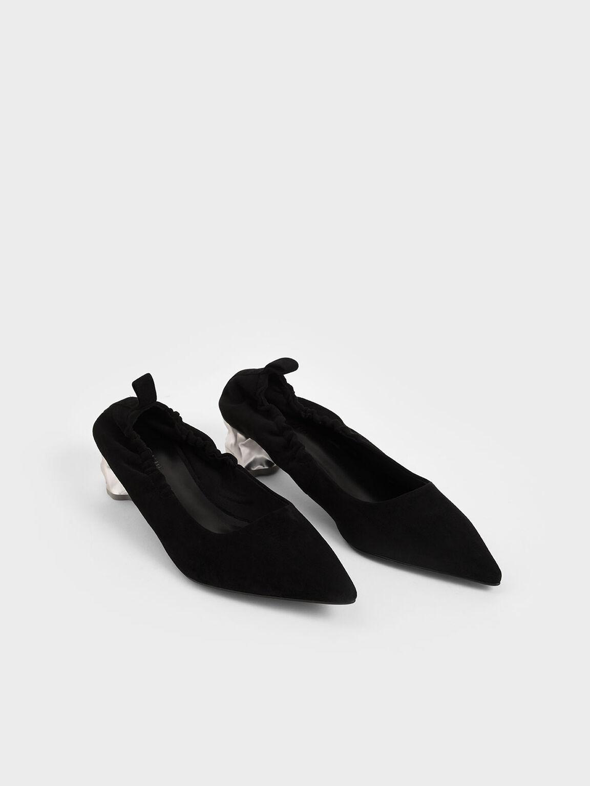 皺褶尖頭跟鞋, 黑色, hi-res