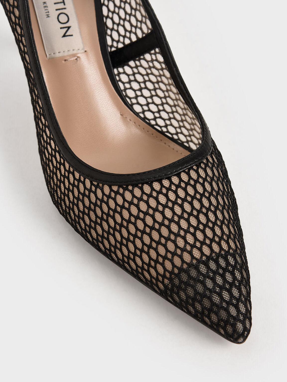 真皮網紗高跟鞋, 黑色, hi-res