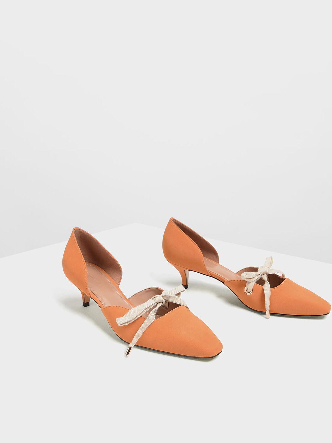 Bow Detail D'Orsay Kitten Heels, Orange, hi-res