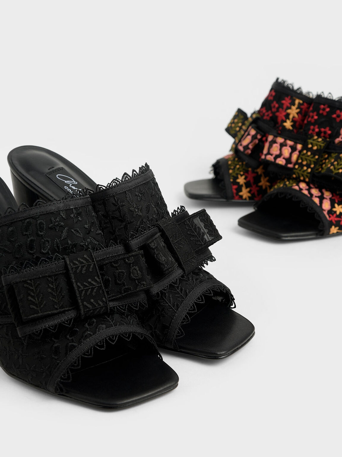 Floral Embroidered Mesh Mules, Black, hi-res