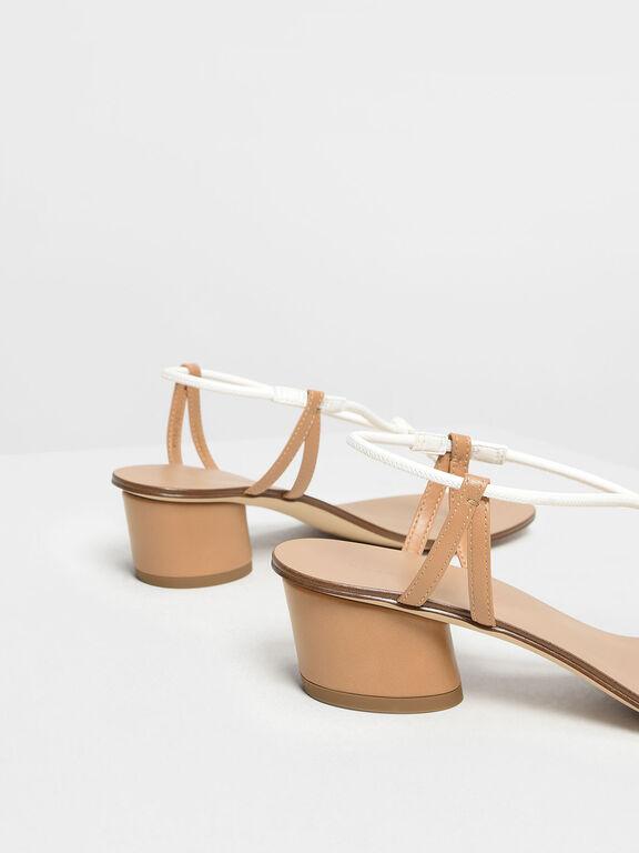 Gold Detail Block Heel Sandals, White, hi-res