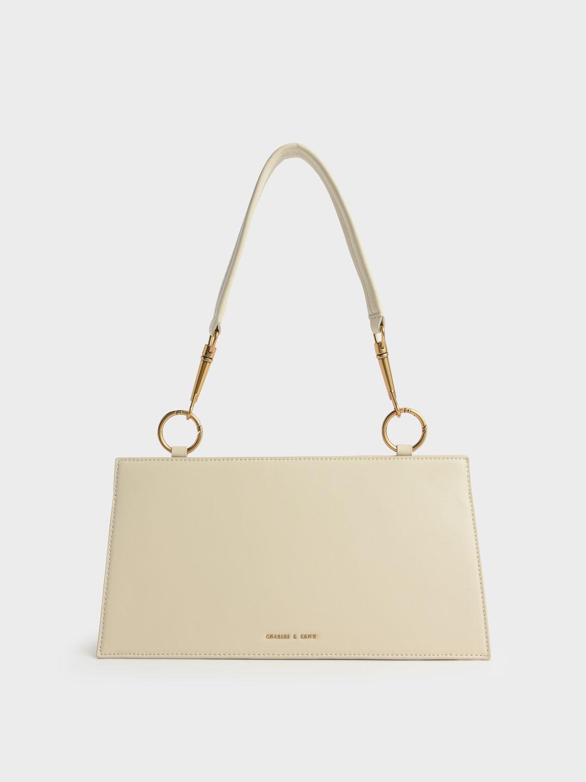 Ring Detail Shoulder Bag, Chalk, hi-res